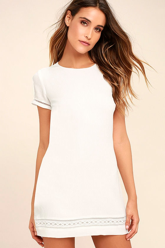 Lovely White Dress - Shift Dress - Embroidered Dress - $49.00
