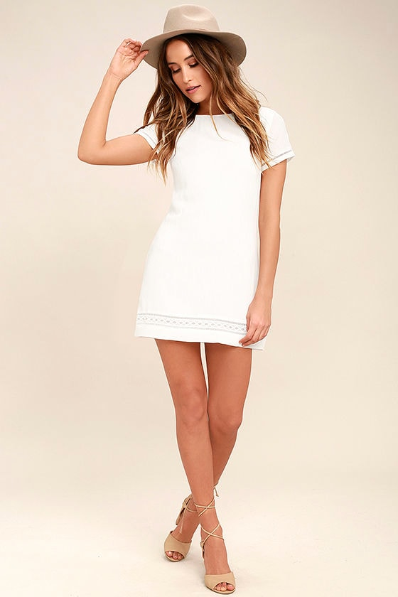 Perfect Time White Shift Dress 2
