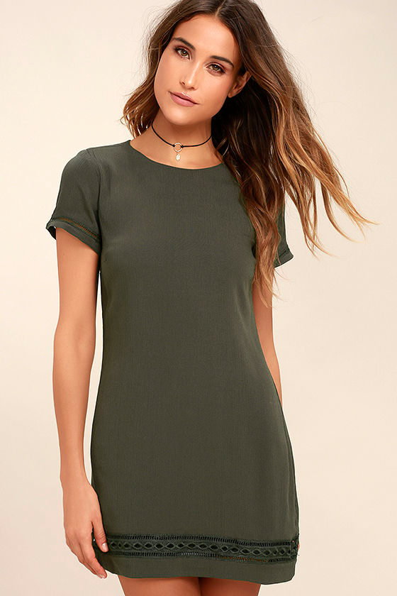 Perfect Time Olive Green Shift Dress 1