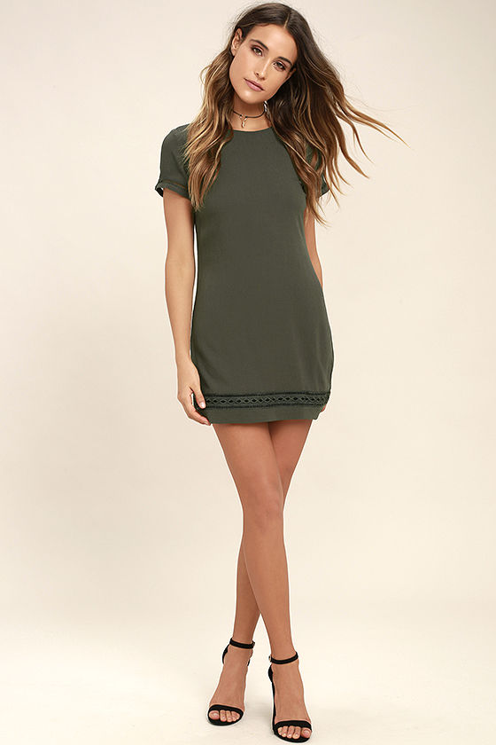 Perfect Time Olive Green Shift Dress 2