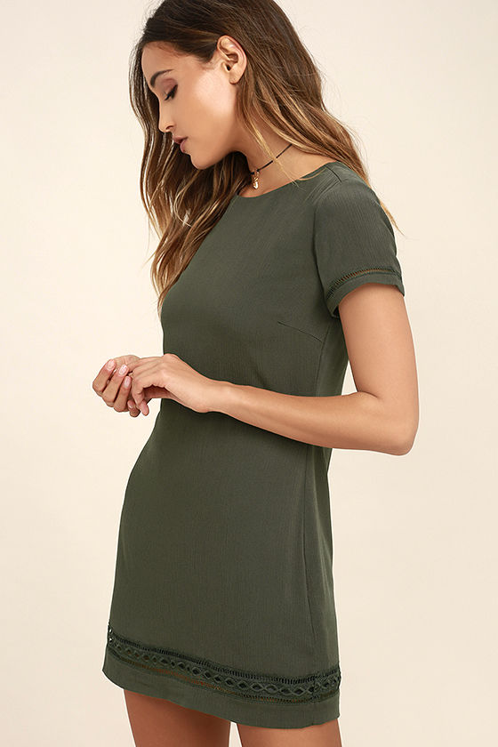 Perfect Time Olive Green Shift Dress 3