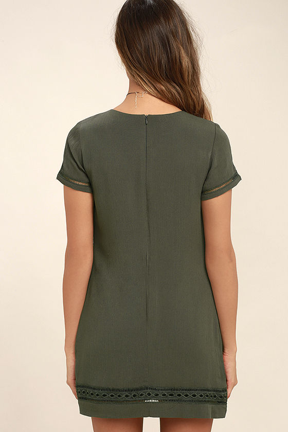 Perfect Time Olive Green Shift Dress 4