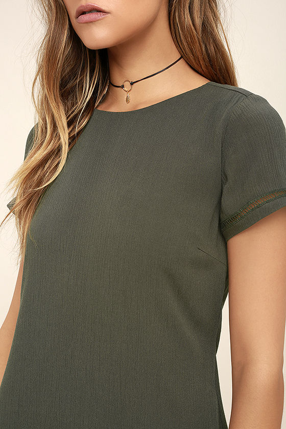 Perfect Time Olive Green Shift Dress 5
