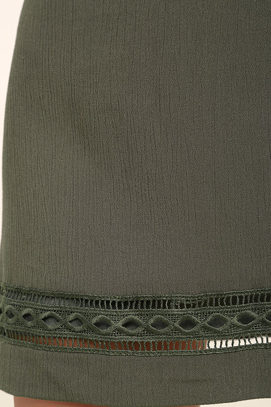 Perfect Time Olive Green Shift Dress 6