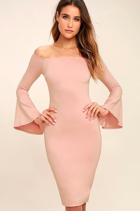 All She Wants Blush Pink Off-the-Shoulder Midi Dress 1