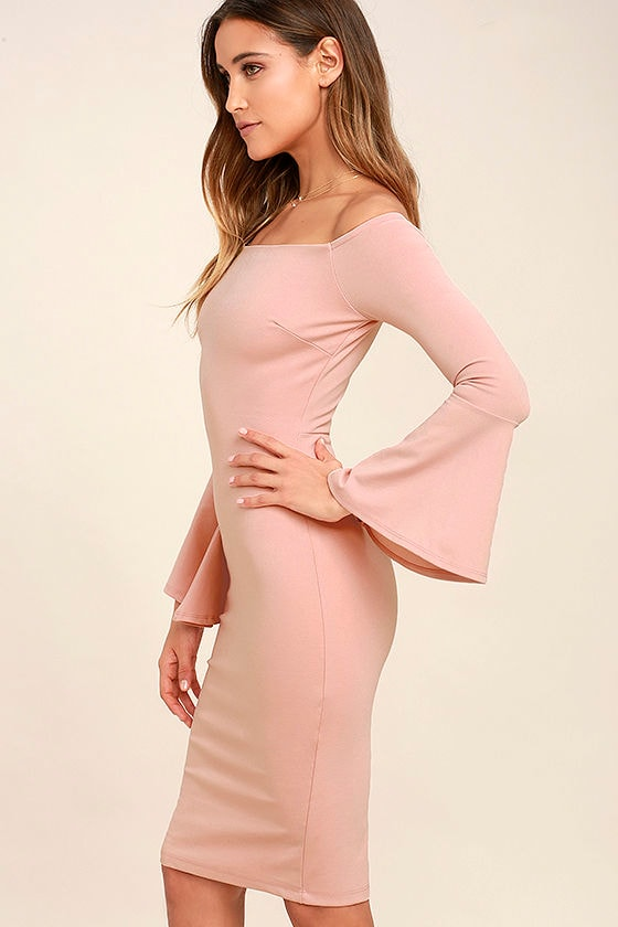 All She Wants Blush Pink Off-the-Shoulder Midi Dress 3