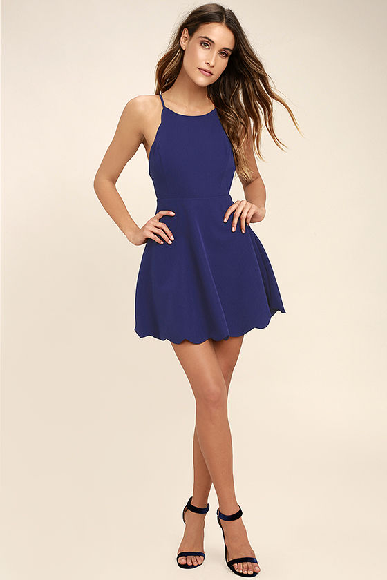 Play On Curves Royal Blue Backless Dress 2