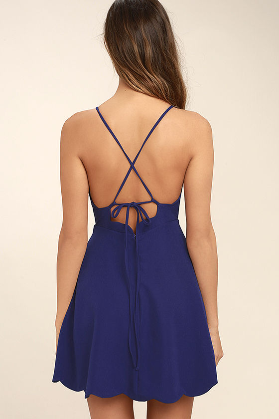 Play On Curves Royal Blue Backless Dress 4