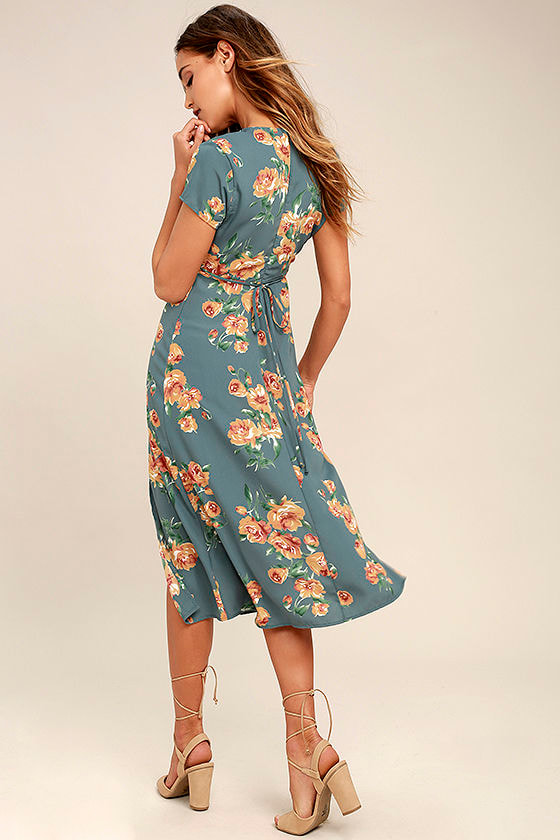 Best Day of My Life Dusty Sage Floral Print Midi Dress 3