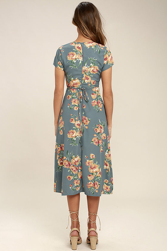 Best Day of My Life Dusty Sage Floral Print Midi Dress 4