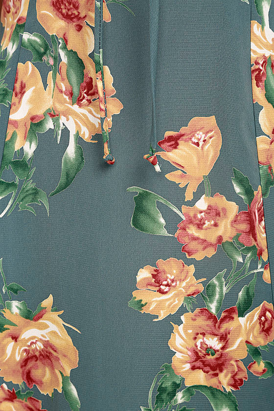 Best Day of My Life Dusty Sage Floral Print Midi Dress 6