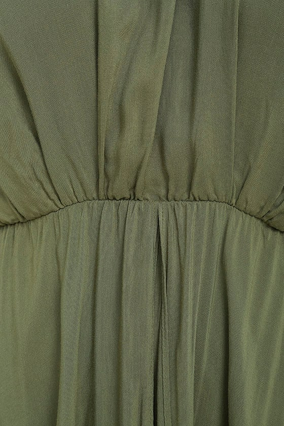 Secret Hideaway Olive Green Halter Romper 6