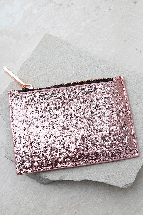 Skinnydip London Dita Rose Gold Glitter Coin Purse 1