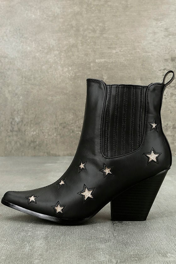 c3228f8b9669 Cool Black Boots - Pointed Toe Boots - Mid-Calf Boots - Star Boots ...