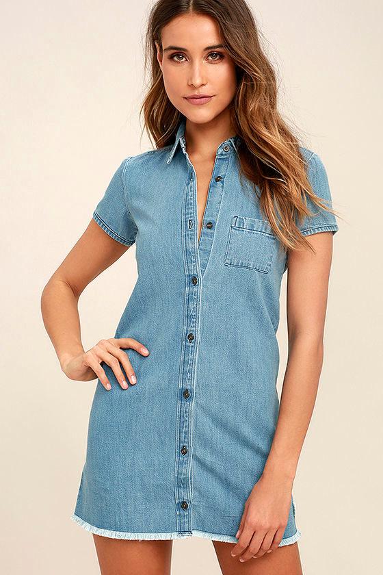 beb5d57cca5 Element Eden Zase - Blue Chambray Dress - Shirt Dress - Shift Dress -  49.95