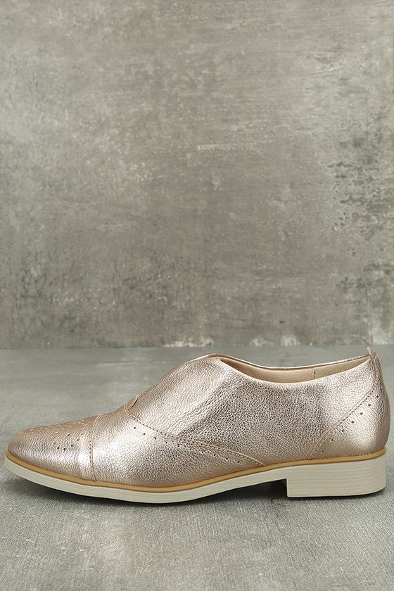 Chelsea Crew Westy Rose Gold Leather Slip-On Oxfords 2