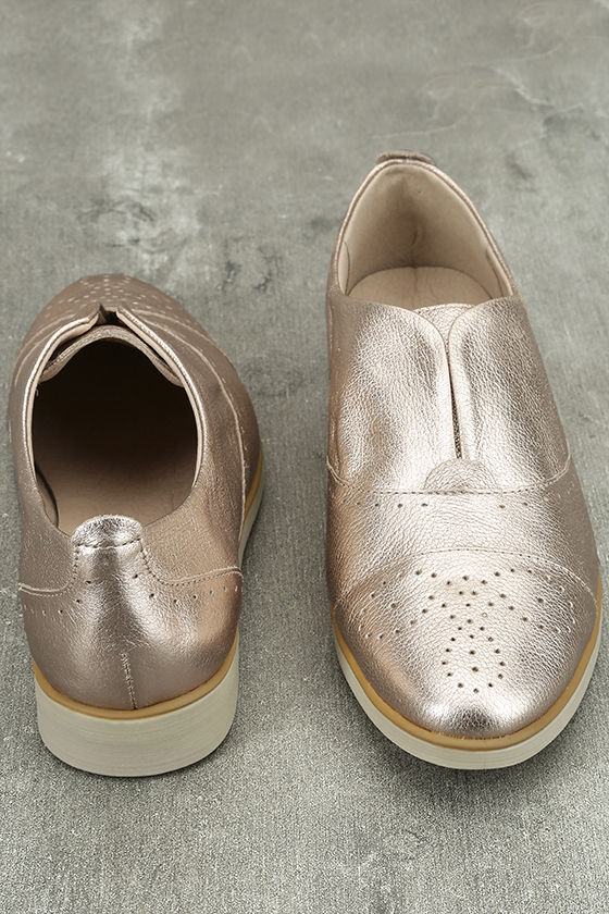 Chelsea Crew Westy Rose Gold Leather Slip-On Oxfords 3