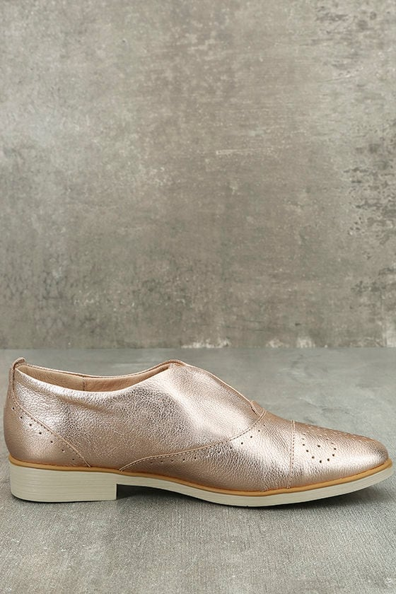 Chelsea Crew Westy Rose Gold Leather Slip-On Oxfords 4