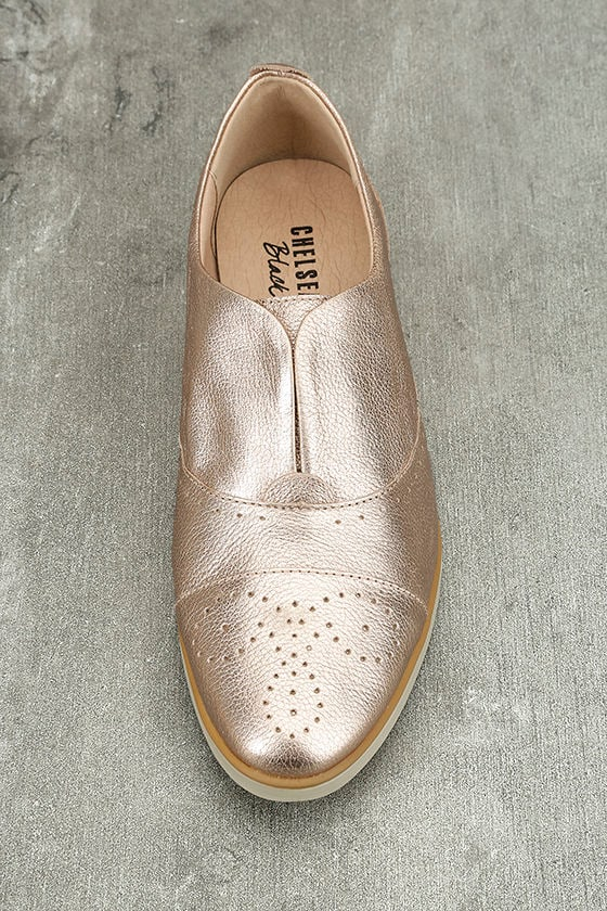 Chelsea Crew Westy Rose Gold Leather Slip-On Oxfords 5