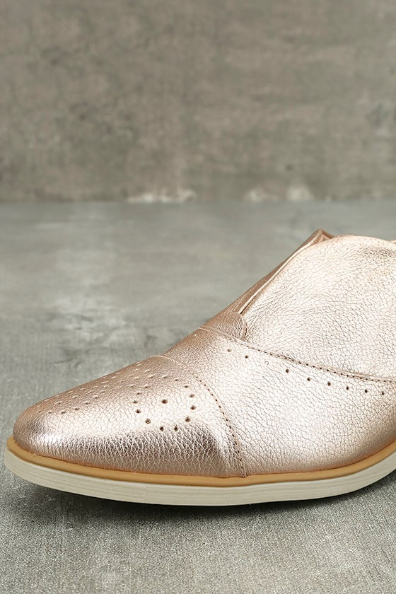 Chelsea Crew Westy Rose Gold Leather Slip-On Oxfords 6