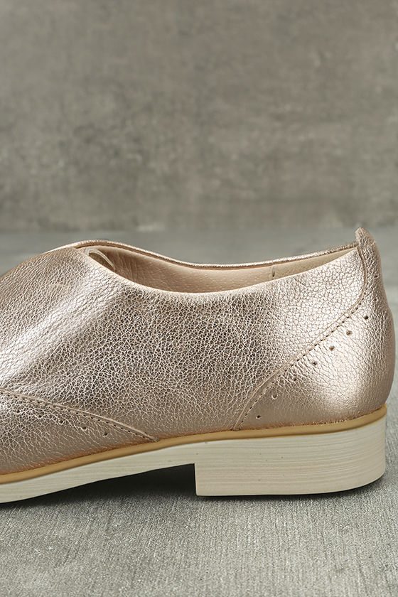 Chelsea Crew Westy Rose Gold Leather Slip-On Oxfords 7