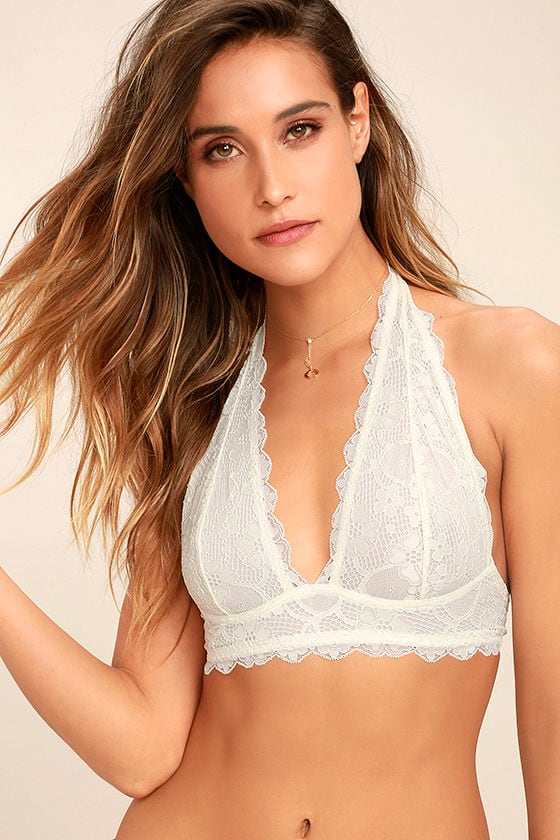 Free People Galloon Halter Ivory Lace Bralette 1