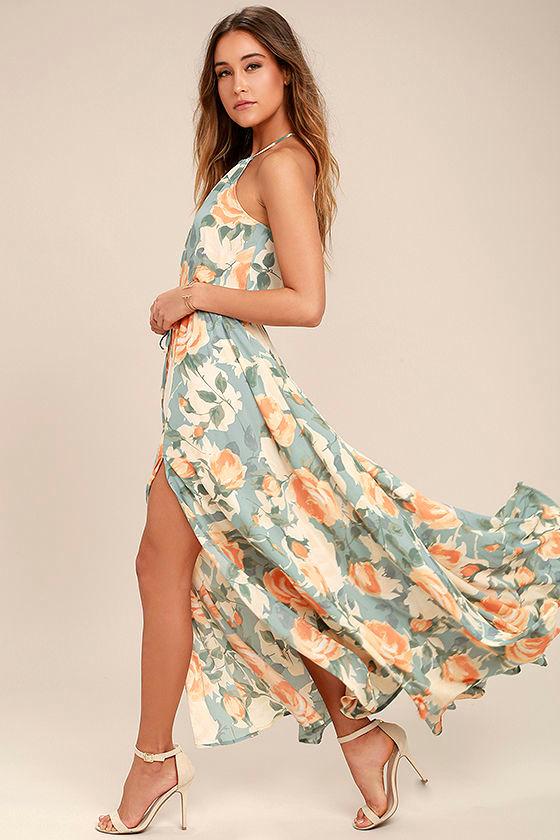 Precious Memories Light Blue and Peach Floral Print Maxi Dress 2