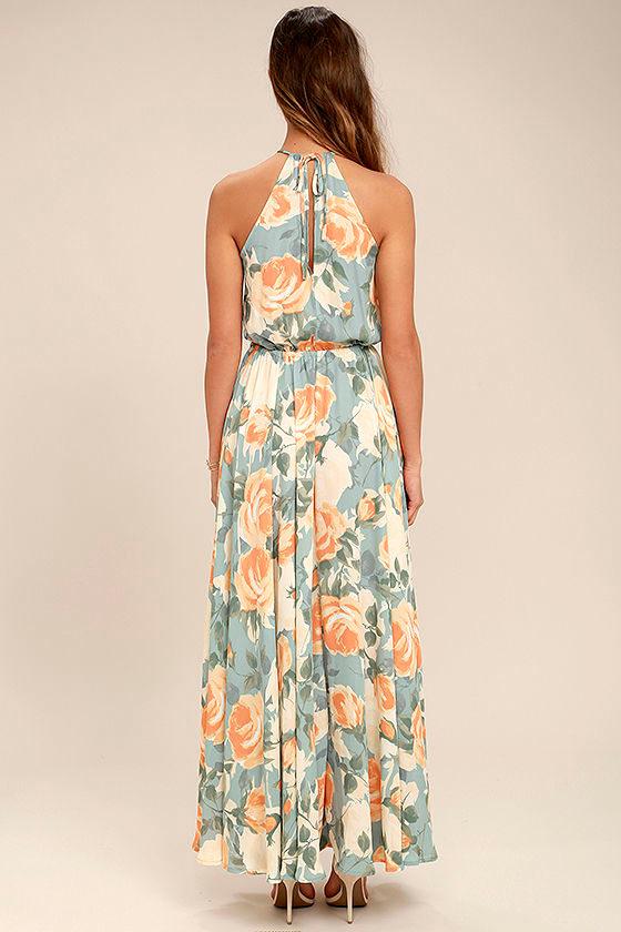 Precious Memories Light Blue and Peach Floral Print Maxi Dress 3
