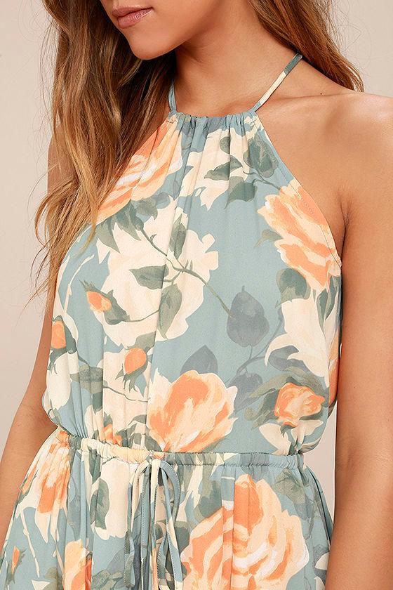Precious Memories Light Blue and Peach Floral Print Maxi Dress 4