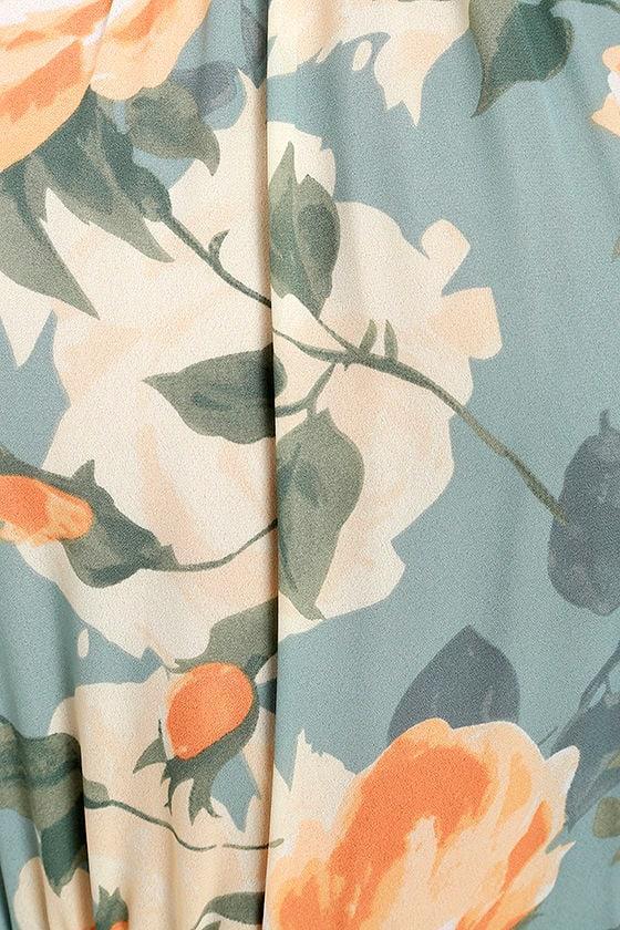 Precious Memories Light Blue and Peach Floral Print Maxi Dress 5