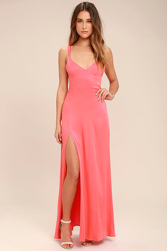 Sexy Coral Pink Dress - Maxi Dress - Strappy Dress - $58.00