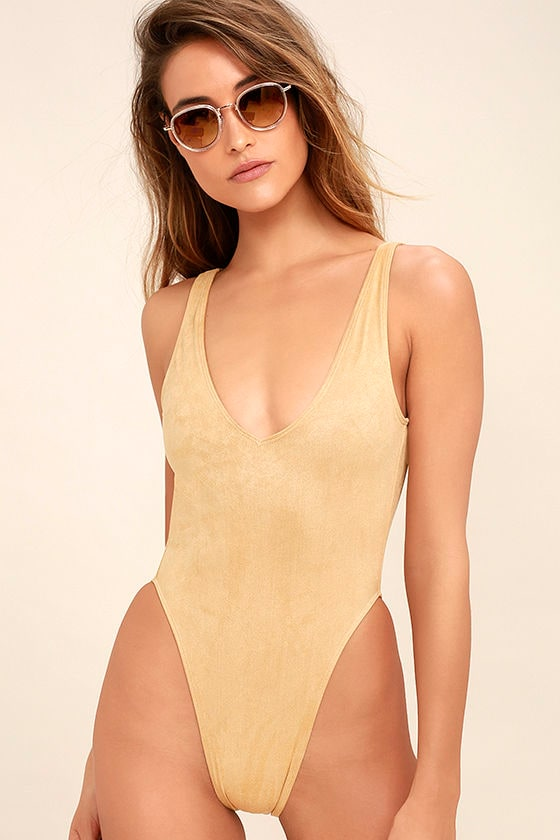 5f9e1c8bb6 Kovey Surfari - Beige Suede One Piece - Backless One Piece Swimsuit - $84.00