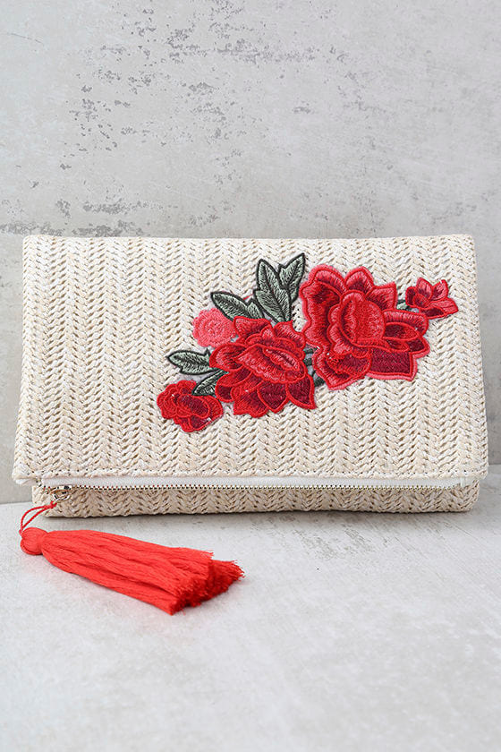 Into Bloom Cream Embroidered Clutch 1