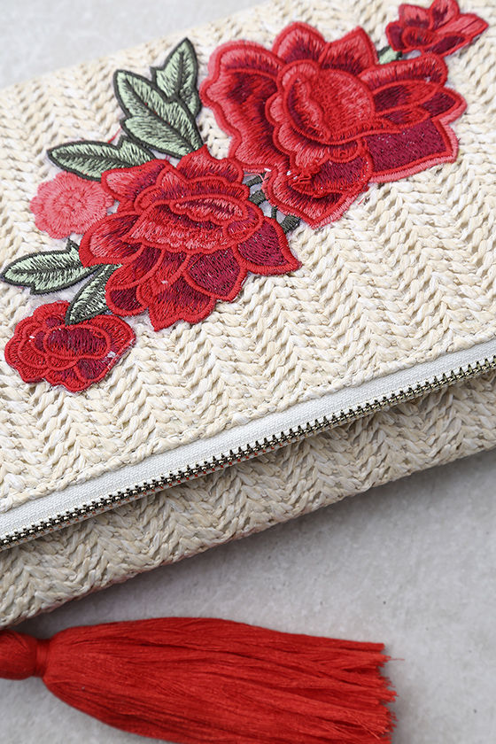 Into Bloom Cream Embroidered Clutch 2