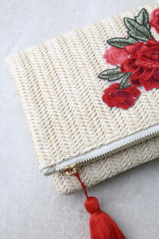 Into Bloom Cream Embroidered Clutch 3