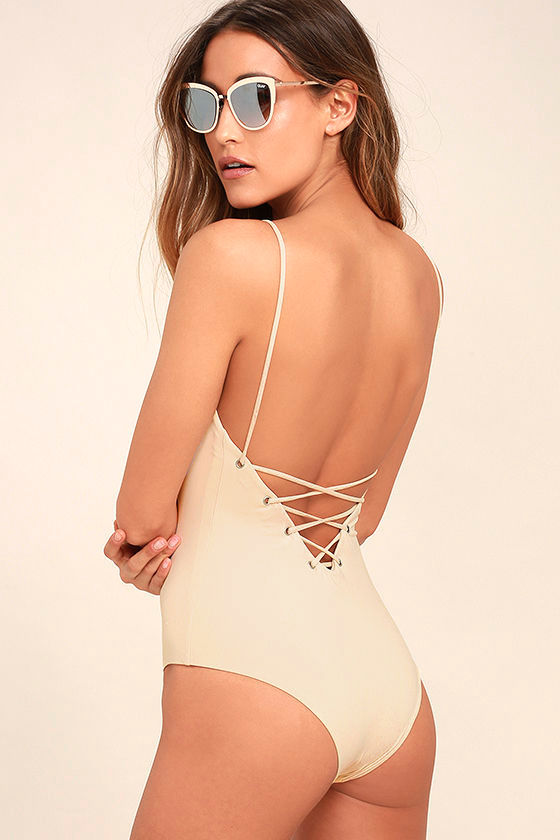 Tavik Monahan Beige Lace-Up One Piece Swimsuit 1