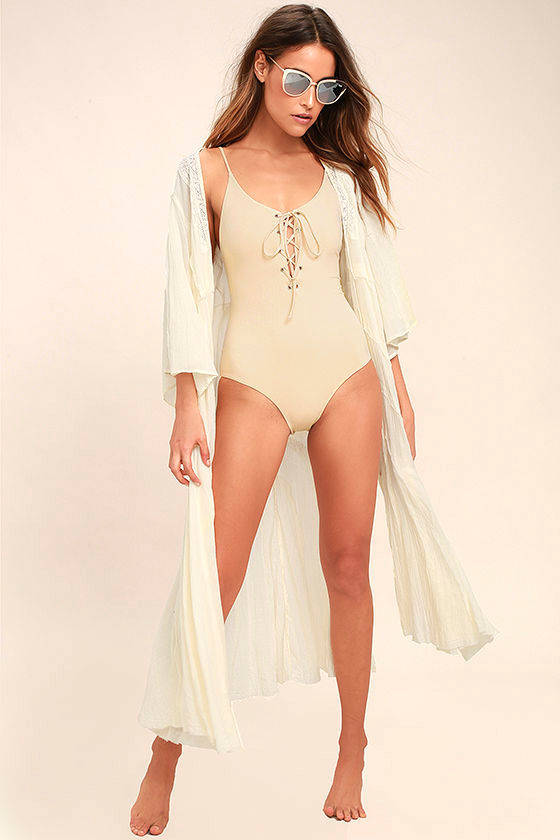 2cf353b895ab5 Tavik Monahan - Beige One Piece - Lace-Up Swimsuit - One Piece Swimsuit