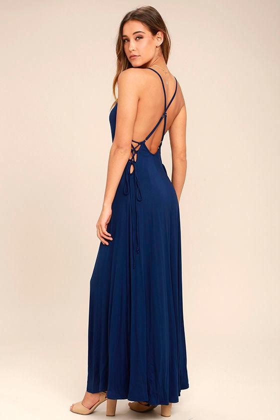 ae9de8273f7 Lovely Navy Blue Maxi Dress - Lace-Up Maxi Dress - Jersey Knit Maxi -  54.00