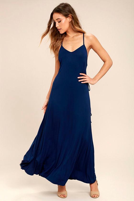 Ever Amazed Navy Blue Lace-Up Maxi Dress 2