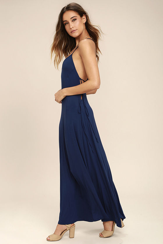 Ever Amazed Navy Blue Lace-Up Maxi Dress 3
