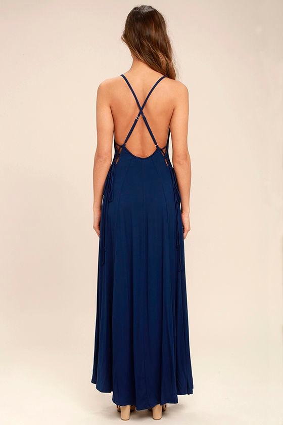Ever Amazed Navy Blue Lace-Up Maxi Dress 4