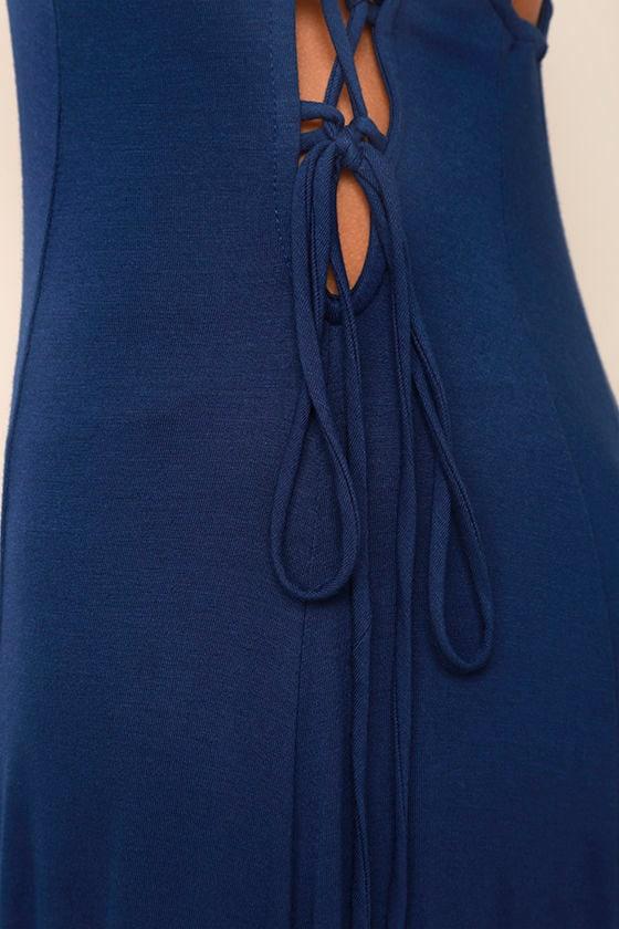 Ever Amazed Navy Blue Lace-Up Maxi Dress 6