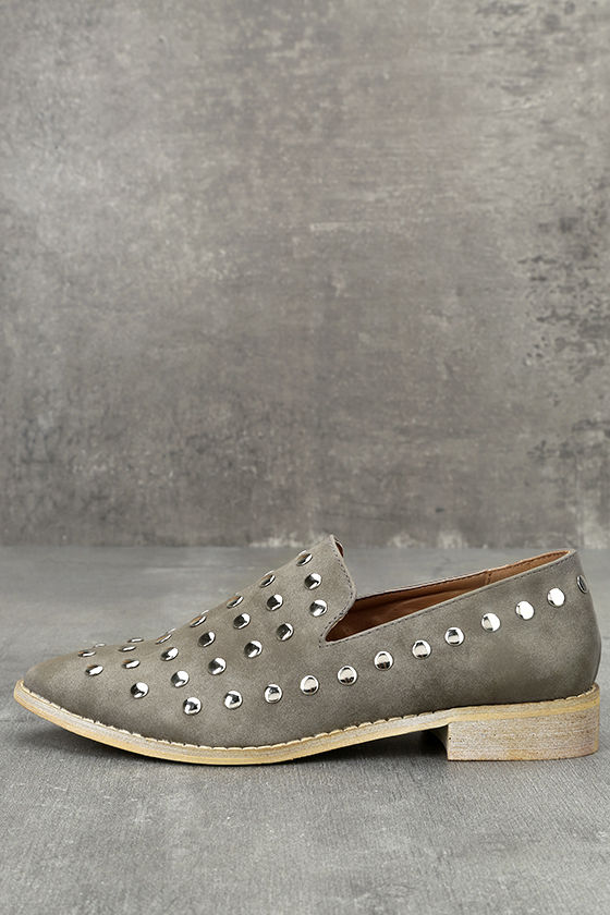 Lex Grey Studded Pointed Loafers 1
