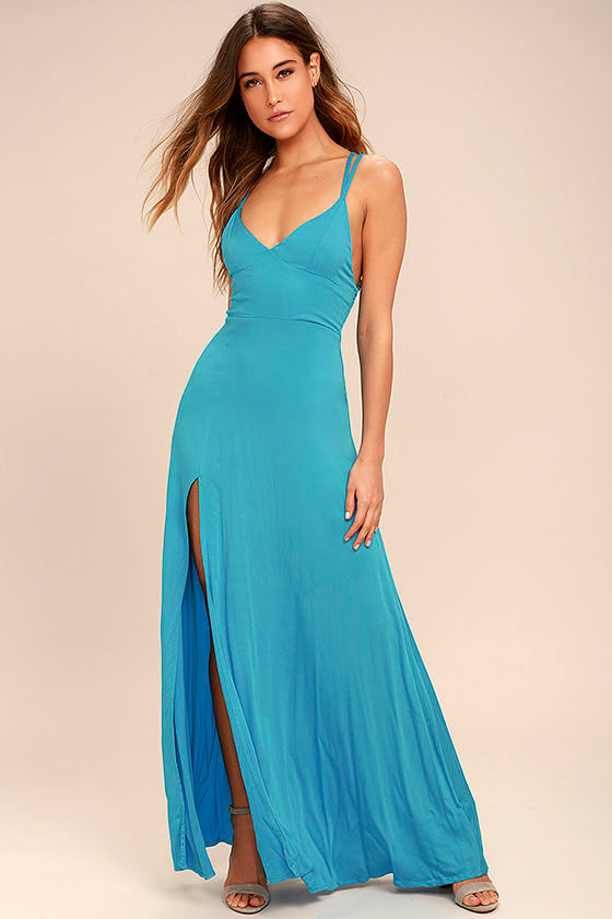 67916602559 Sexy Turquoise Dress - Maxi Dress - Strappy Dress - $58.00