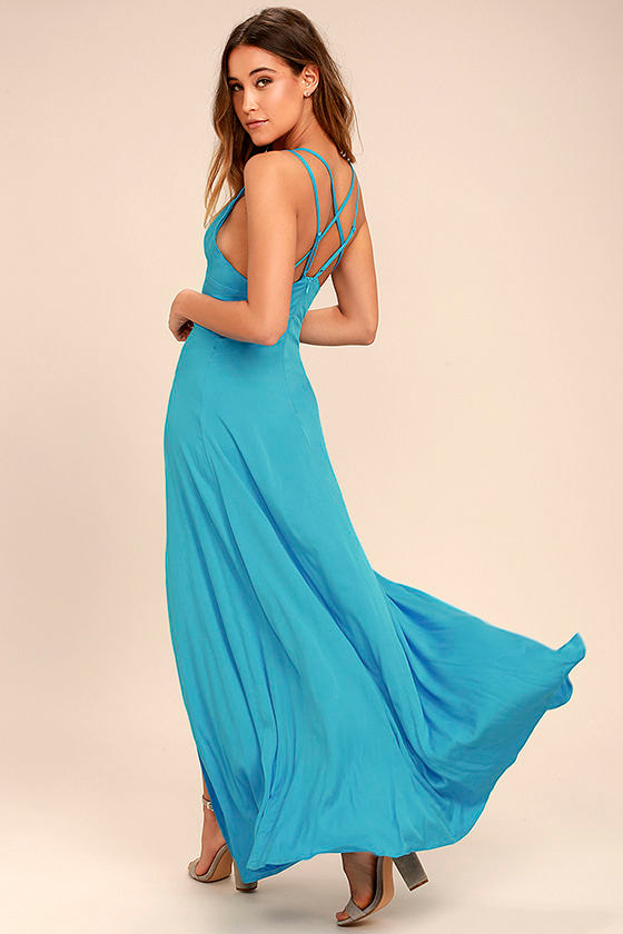 Sexy Turquoise Dress - Maxi Dress - Strappy Dress - $58.00