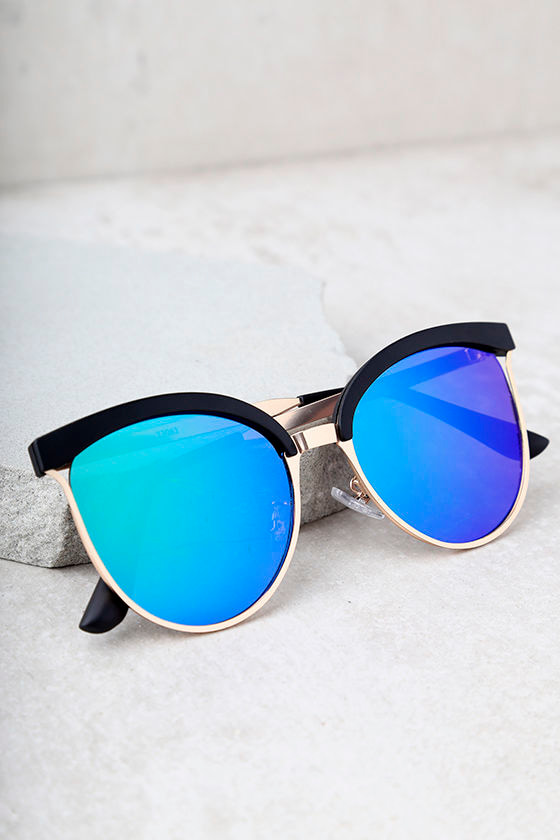 Song and Glance Black and Blue Mirrored Cat-Eye Sunglasses 2