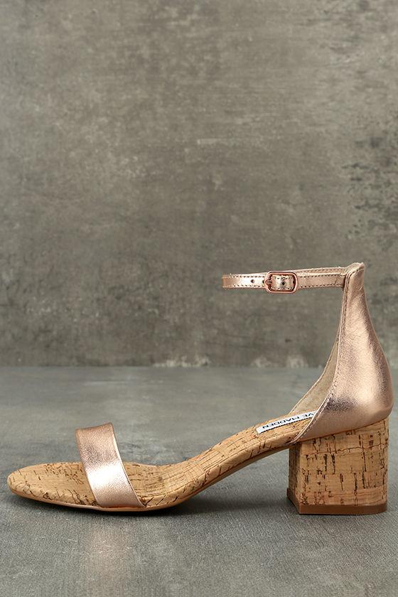 Steve Madden Irenee C Rose Gold Cork Ankle Strap Heels 1