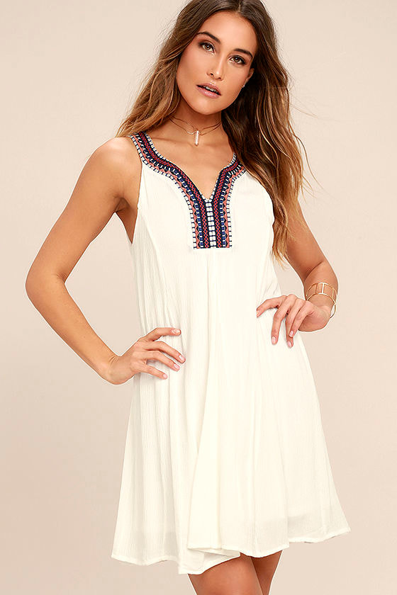 Others Follow Breezier Said Than Done White Embroidered Dress 1