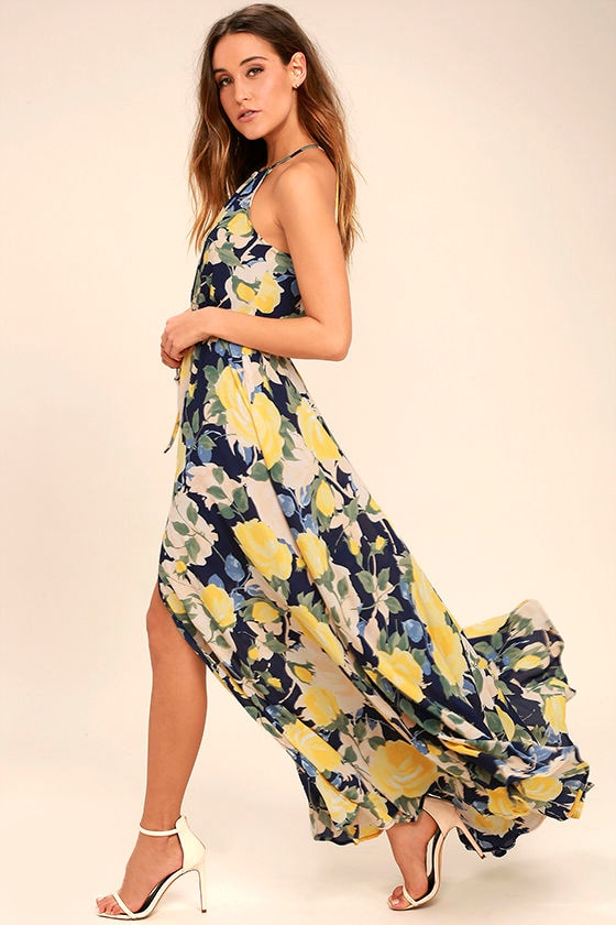 Stunning Floral Print Maxi Dress - Blue and Yellow Maxi Dress ...