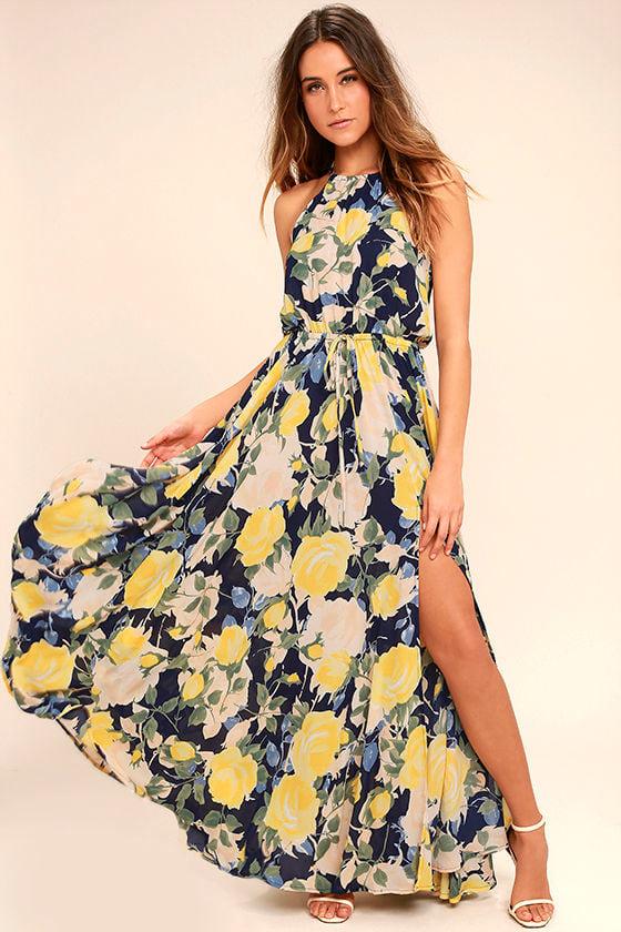 Navy bird print maxi dress